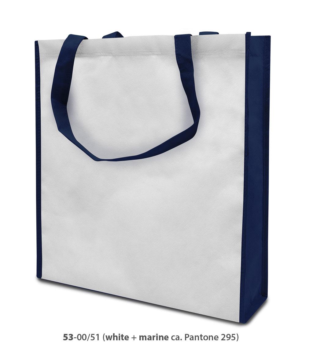 Non-Woven Tasche Lisboa in weiss/dunkelblau