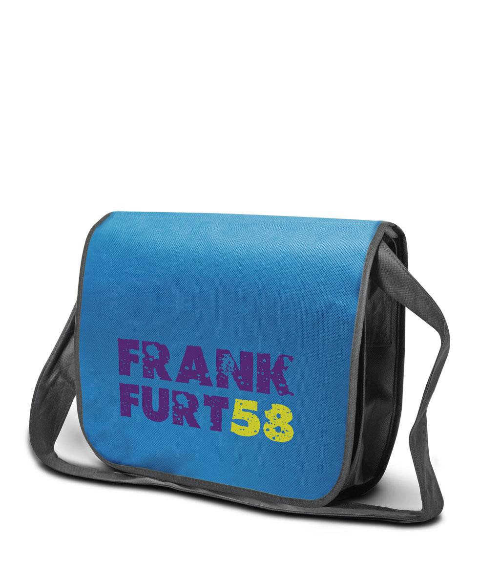 Non-woven Tasche Frankfurt in blau/grau