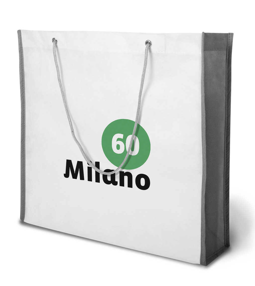 Non-woven Tasche Milano in weiss/grau