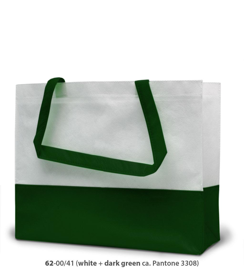 Non-Woven Tasche Roma in weiss / dunkelgrün