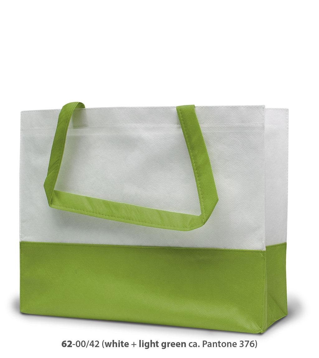 Non-Woven Tasche Roma in weiss / hellgrün