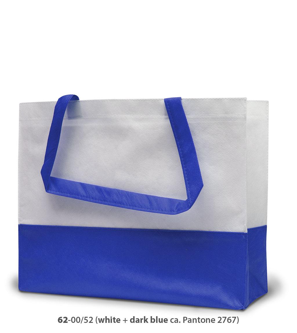 Non-Woven Tasche Roma in weiss / dunkelblau