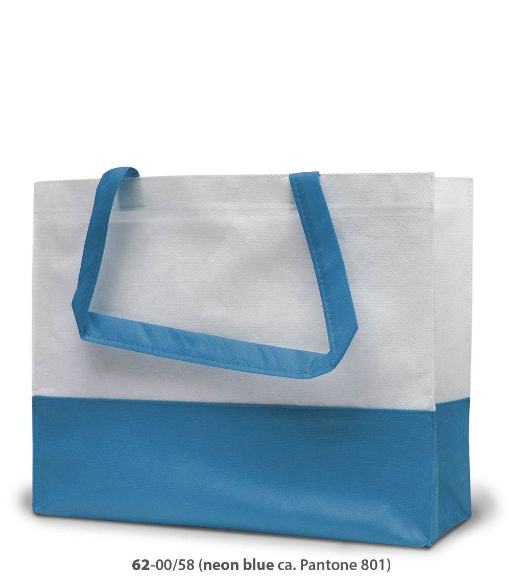 Non-Woven Tasche Roma in weiss / neonblau