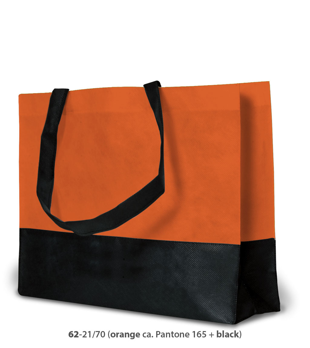 Non-Woven Tasche Roma in orange / schwarz