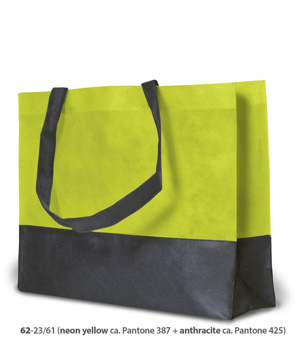 Non-Woven Tasche Roma in neongelb / dunkelgrau