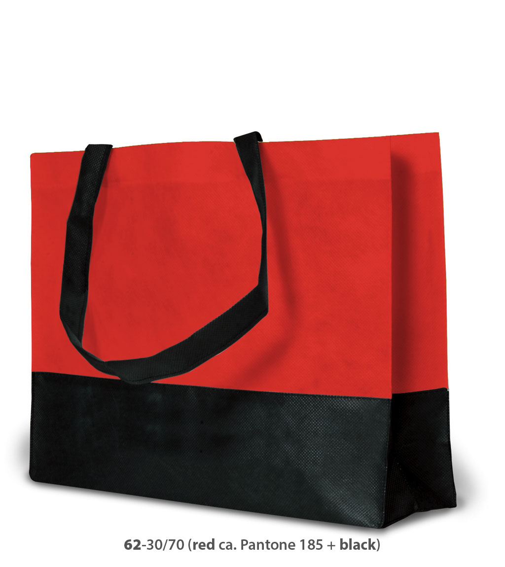 Non-Woven Tasche Roma in rot / schwarz
