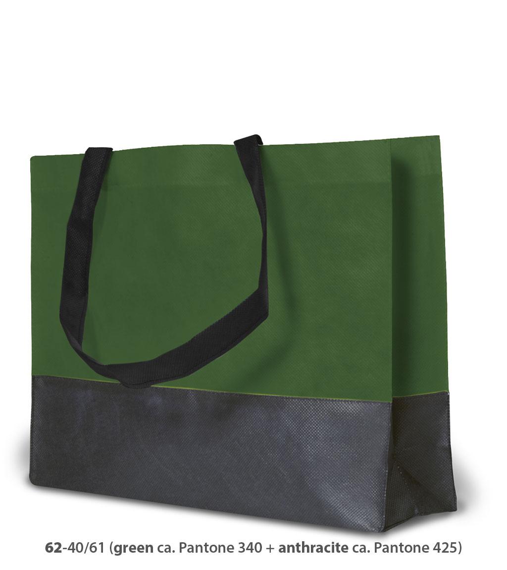 Non-Woven Tasche Roma in grün / dunkelgrau