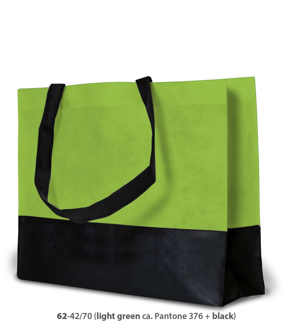 Non-Woven Tasche Roma in hellgrün / schwarz