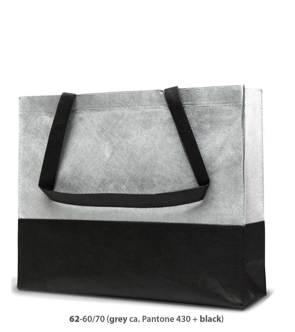 Non-Woven Tasche Roma in grau / schwarz