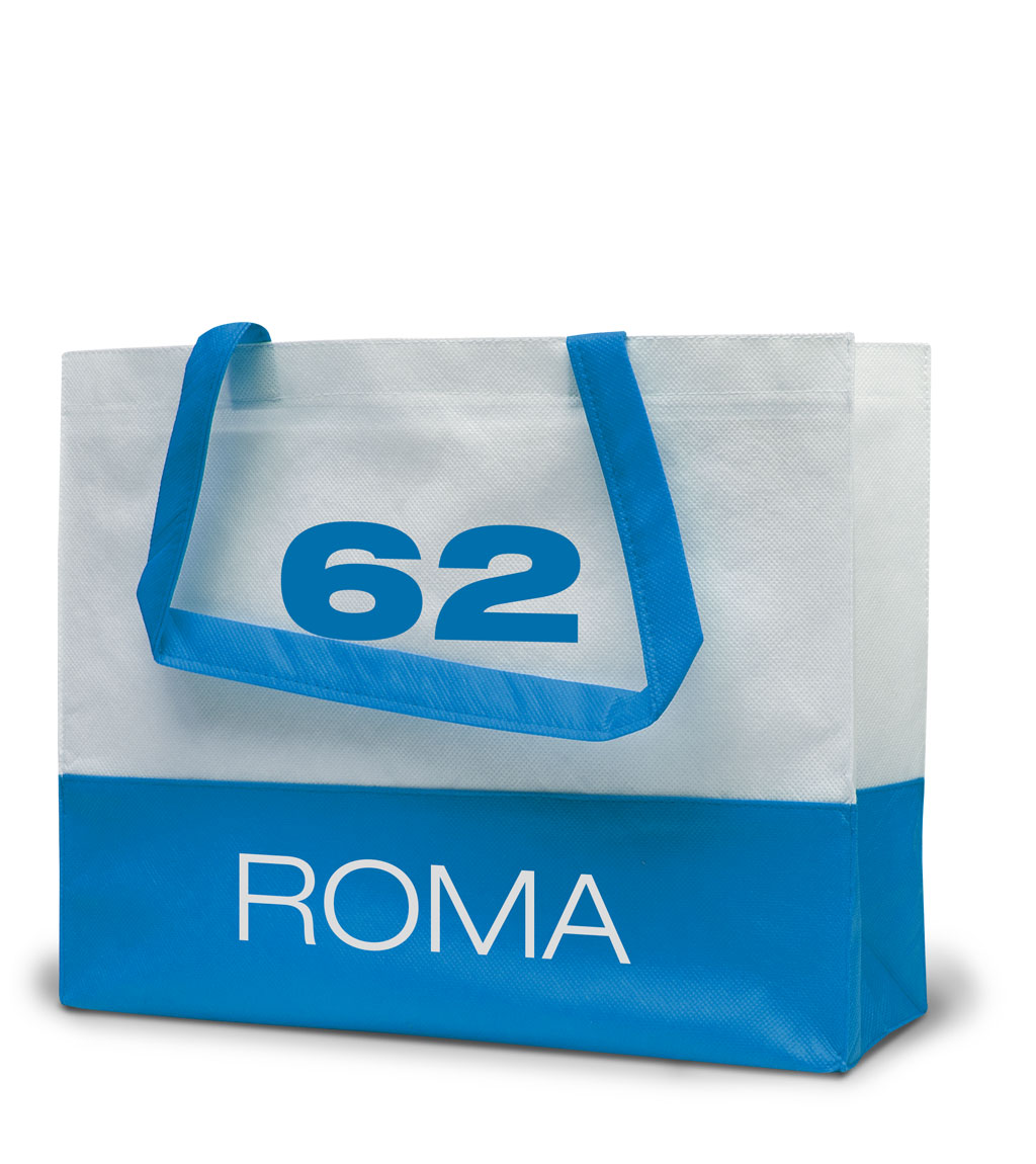 Non-woven Tasche Roma in weiss/hellblau
