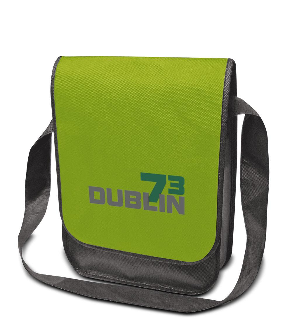 Non-woven Tasche Dublin in hellgrün/dunkelgrau