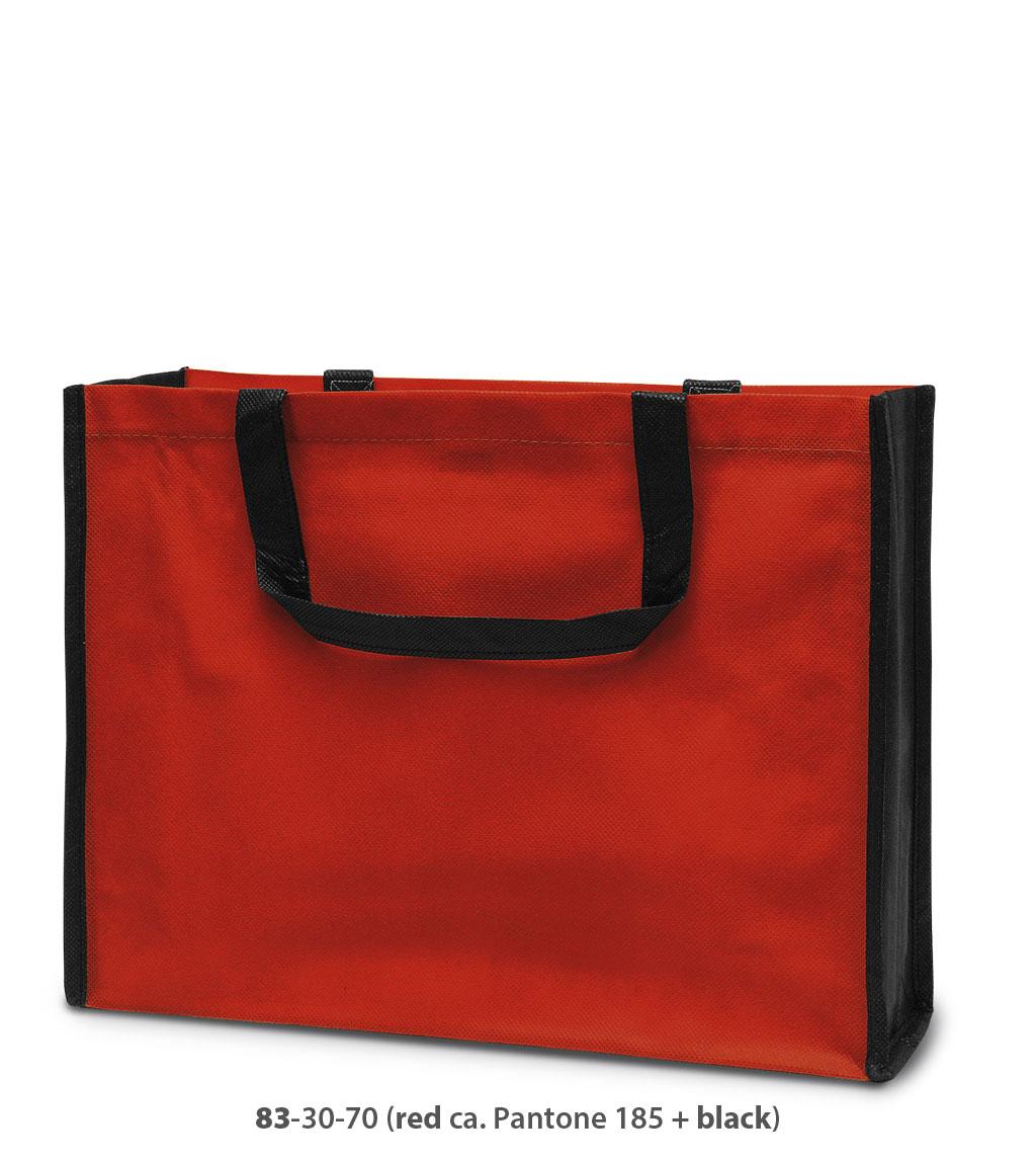 Non-Woven Tasche Bergen in rot / schwarz