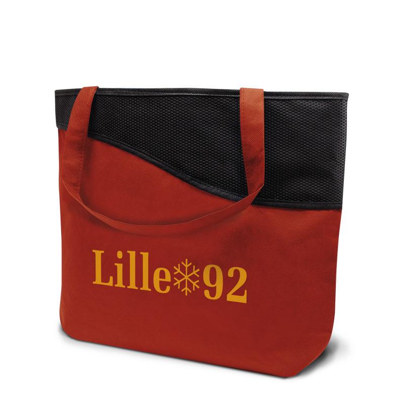 Non-Woven Tasche Lille in rot/schwarz