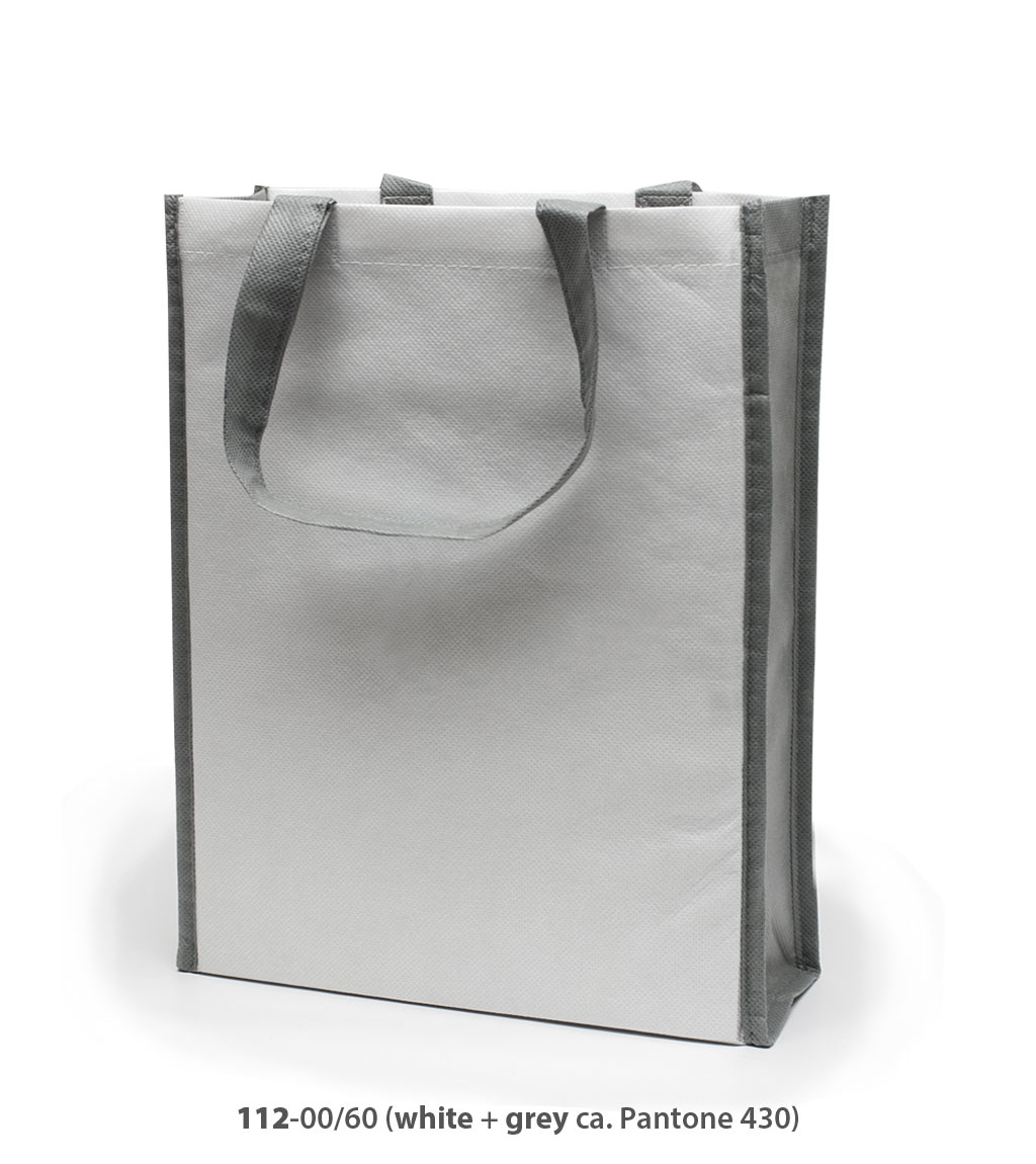 Non-Woven Tasche Oxford in weiss / grau