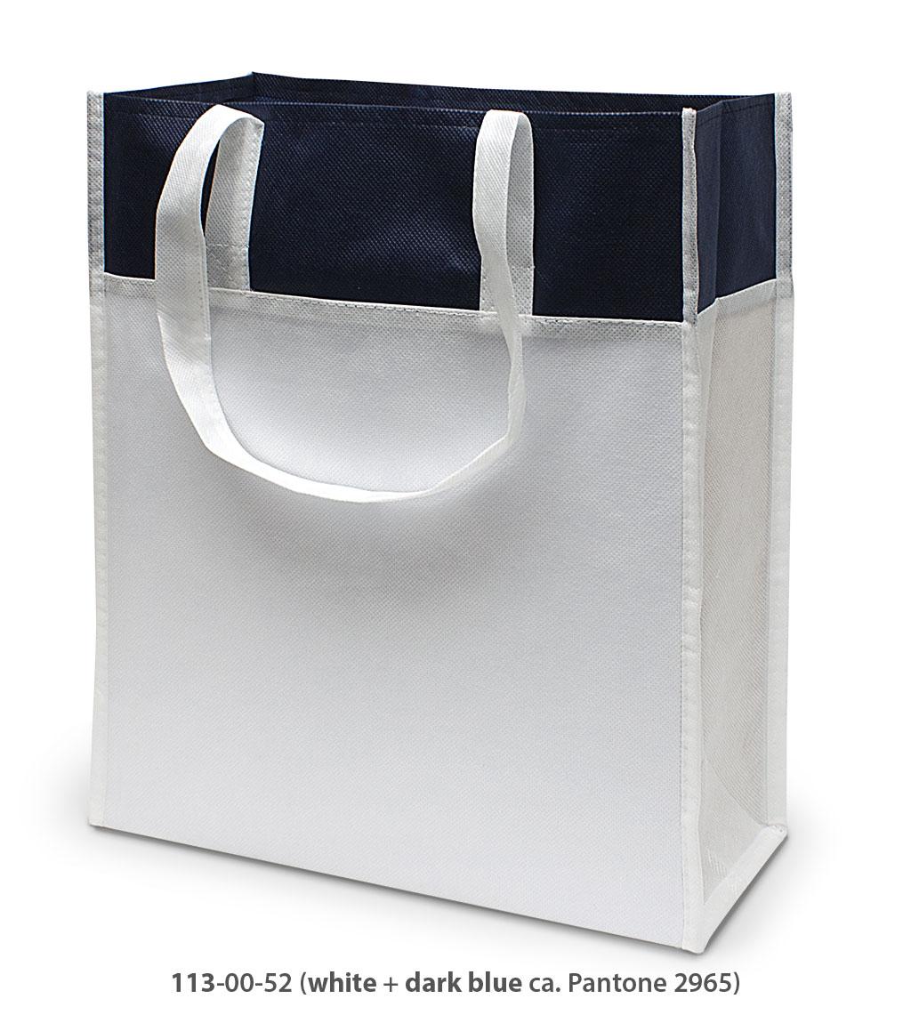 Non-Woven Tasche Brest in weiss / dunkelblau